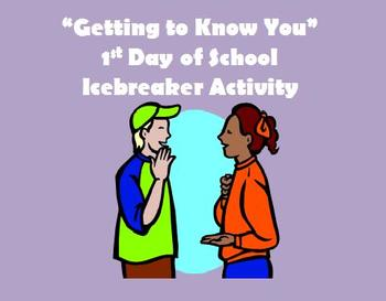 """""""Getting to Know You"""" 1st Day Icebreaker Activity"""