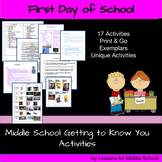 Getting to Know You Activities for Middle School - First Day of School