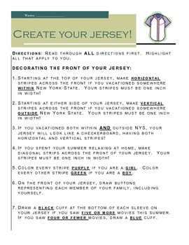 Getting to Know You Activity- Create a Jersey!