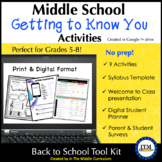 Back to School Activities for Middle School-Distance Learning