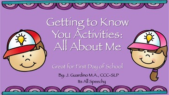 Getting to Know You/ All About Me Activities