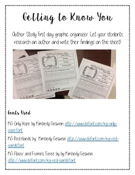 Getting to Know You- Author Study