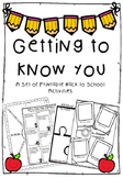 Getting to Know You...Back to School Activities