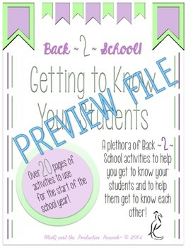 Getting to Know You Back to School Activities (3-12)