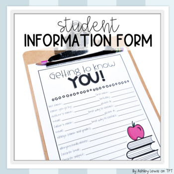Student Information Form for Back to School