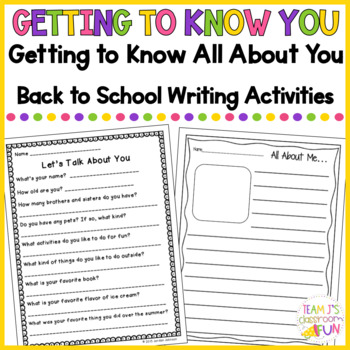Getting to Know You - Back to School Packet