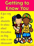 Getting to Know You Back to School Writing Activity