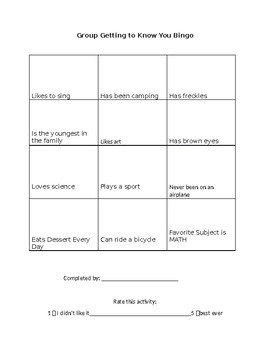 Getting to Know You Bingo Activity for Small Group