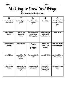 Getting to Know You Bingo Board