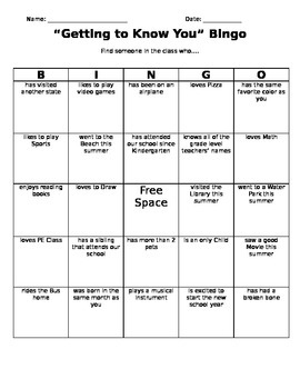 Getting to Know You Bingo Board- Editable Version