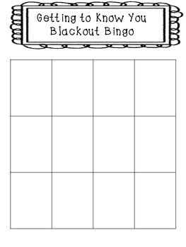Getting to Know You Blackout Bingo