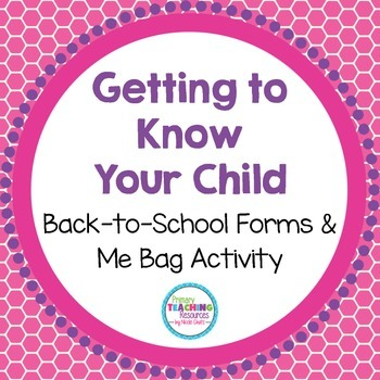 FREE Back to School Forms & Me Bag Activity