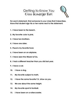 Getting to Know You: Class Scavenger Hunt