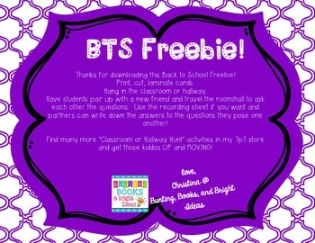 FREE Getting to Know You- Classroom or Hallway Hunt Back to School {Freebie}!