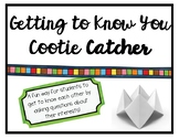 Getting to Know You Cootie Catcher - Great Back to School Activity!