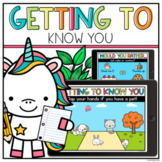 Getting to Know You Distance Learning   Google Slides Back to School Activity