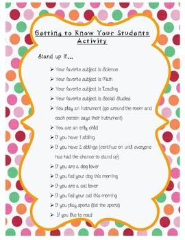 """""""Getting to Know You"""" First Day Activity"""