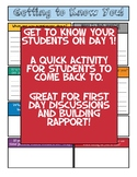 Getting to Know You First Day Activity