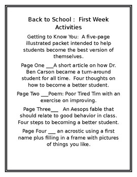 Getting to Know You: First Week Acttivities
