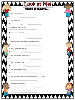 Getting to Know You Form (EDITABLE) ~ Chevron B/W Print