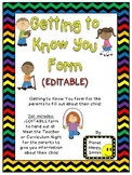 Getting to Know You Form (EDITABLE) ~ Chevron Rainbow Print with black bkgd