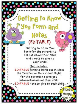 Getting to Know You Form (EDITABLE) Monster Theme