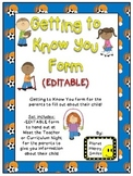 Getting to Know You Form (EDITABLE) Plus a BONUS~ Sport Theme