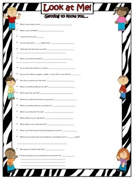 Getting to Know You Form (EDITABLE) ~ Zebra Print