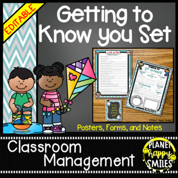 Getting to Know You Form, Poster & Notes (EDITABLE) Teal and Chalkboard Theme