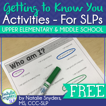 Getting to Know You Freebie for SLPs - Upper Elementary and Middle School