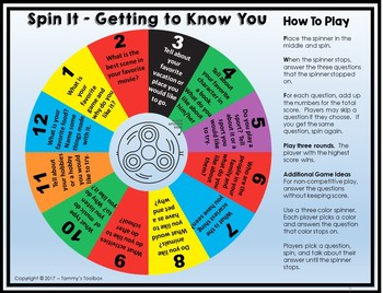 Getting to Know You Game -  Spin It for Back to School