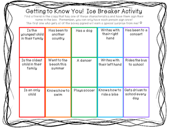 Getting to Know You! Ice Breaker Activity