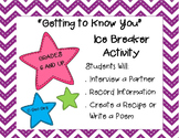 Getting to Know You Ice Breaker; Back to School - Middle and High School