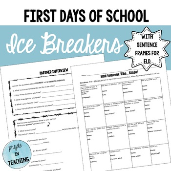Getting to Know You - Ice Breakers for First Days of School