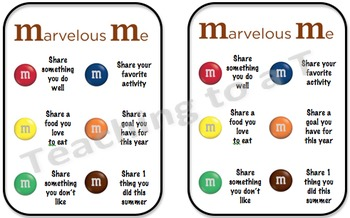 Getting to Know You M&M Activity - EDITABLE