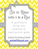 Getting to Know You Math Game