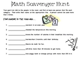 Getting to Know You Math Scavenger Hunt for Back to School