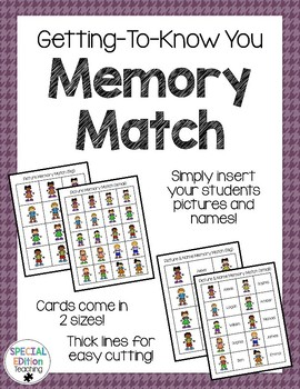 Getting to Know You Memory Match