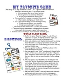 """Getting to Know You """"My Favorite"""" Game - First Day of School Activity"""