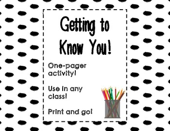Getting to Know You - One Pager Activity