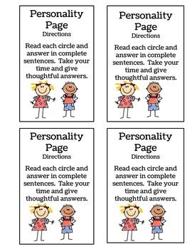 Getting to Know You Personality Page