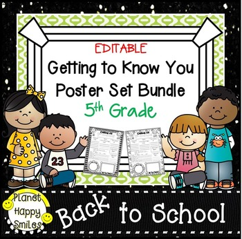 Getting to Know You Poster Set Bundle ~ 5th Grade