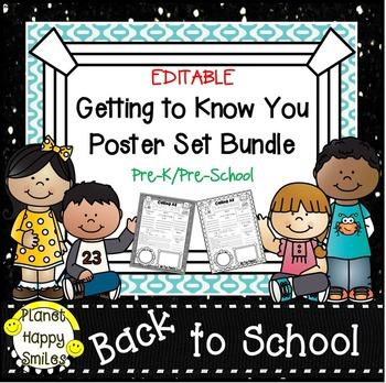 Getting to Know You Poster Set Bundle ~ Pre-K/Pre-School