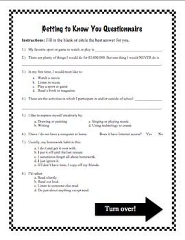 Getting to Know You Questionnaire