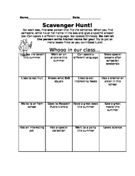 Getting to Know You Scavenger Hunt