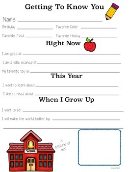 Getting to Know You Sheets - Back to School Clip Art