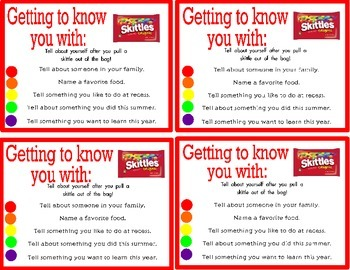 Getting to Know You Skittle Activity