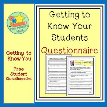 Back to School Getting to Know Your Students Questionnaire