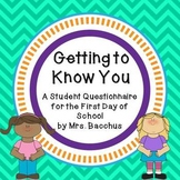Getting to Know You - Student Questionnaire for the First Day of School Gr 2-4