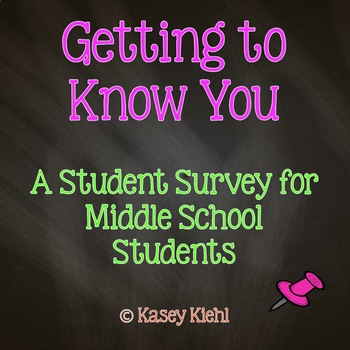 Getting to Know You: Student Survey for Middle School (Freebie)